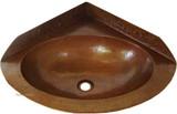 角落铜浴室水槽