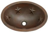 手工制作的椭圆形铜水槽浴室