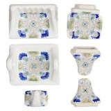白蓝陶瓷浴缸配件套装