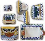 黄蓝陶瓷浴缸配件套装