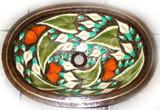 椭圆形传统铜浴室水槽