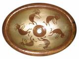 椭圆形殖民铜浴室水槽