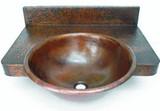 带柜台的圆形铜浴室水槽