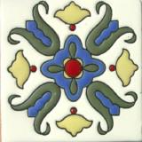 殖民地庄园浮雕瓷砖蓝色