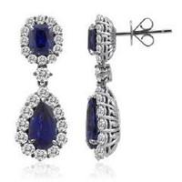 18k WG Sapphire & Diamond Dangling Earrings (rd 3.17cttw, Sp 2.51cttw, Sp 5.16cttw)