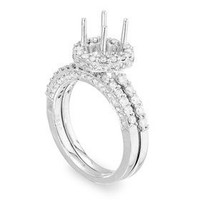1.36 Ctw Pave Two Piece Diamond Engagement Ring Setting