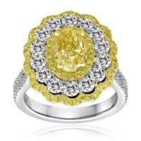 4.6 Ct Fancy Yellow & Pink Diamond Ring (ydrd 0.52ct, Pink 0.34ct, Rd 1.72ct, Fyov 2.02ct)