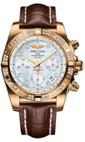 Breitling Chronomat 41 RG Dia Bezel Croco Strap Tang HB0140AA/A723