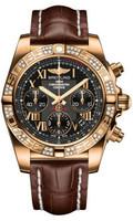 Breitling Chronomat 41 RG Dia Bezel Croco Strap Tang HB0140AA/BC08