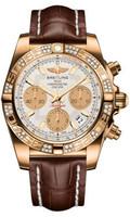 Breitling Chronomat 41 RG Dia Bezel Croco Strap Tang HB0140AA/G713