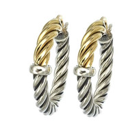 18Kt/Sterling Silver Small Twisted Tubing Hoop Earring