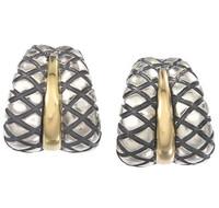 18Kt/Sterling Silver Double Traversa Earring