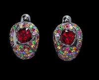 Mousson Atelier Riviera Gold Red Tourmaline Earrings E0074-3/7