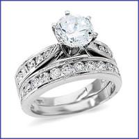 Gregorio 18K WG Diamond Engagement Ring & Band R-139