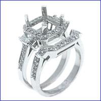 Gregorio 18K White Diamond Engagement Ring & Band R-1538