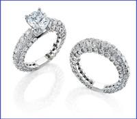 Gregorio 18K WG Diamond Engagement Ring & Band R-1702 R-1703