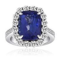 9.40 Ct Tanzanite & Diamond Ring (rd 1.32ct, Tz 8.08ct)