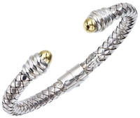 18Kt/Sterling Silver Traversa Bangle With Gold Bullets