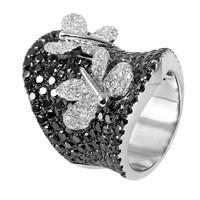 6.62 ct Black & White Diamond Ring