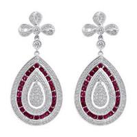 18K WG Ruby & Diamond Earrings KE717WRB-18K