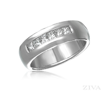 Ziva Men's Wedding Ring with Princess Cut Diamonds