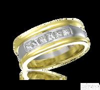 Ziva Men's Wedding Band with Princess Cut Diamonds