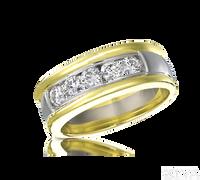 Ziva Men's Two Tone Diamond Wedding Band