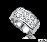 Ziva Men's Ring with Square & Round Diamonds