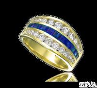 Ziva 3-Row Sapphire & Diamond Anniversary Band
