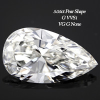 5.05 Carat G/VVS1 Pear Cut Diamond (GIA Certified)
