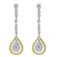 18K White & Yellow Gold Diamond Earrings R1900W-18K