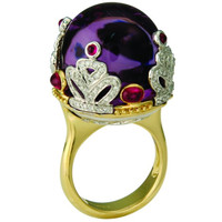 Amethyst & .65 ct Diamond Ring