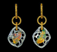 "Mousson Atelier Spectrum Collection Opal & Diamond Earrings ""Autumn"" E0028-0/2"