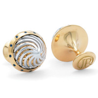 Jack Row Architect 18k White & Yellow Gold Cufflinks with Sapphires
