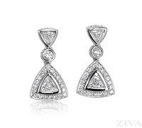 Ziva Triangle Diamond Earrings with Halo