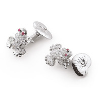 ZANNETTI ZANNETTI DIAMONDS CURIOUS FROG CUFFLINKS