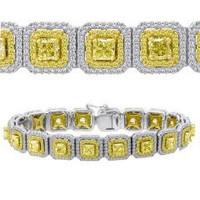 10.45 Ct Fancy Yellow & White Diamond Bracelet (rd 2.08ct, Ydrd 1.66ct, Ydrad 6.71ct)