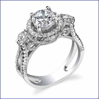 Gregorio 18K WG Diamond 3 Stone Ring R-472