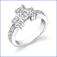 Gregorio 18K WG Diamond 3 Stone Ring R-360-1