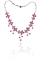 Gayubo 18K WG Ruby & Diamond Necklace 9930