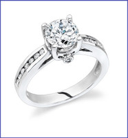 Gregorio 18K White Engagement Diamond Ring R-6998