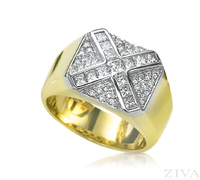Ziva Men's Ring with Princess Cut & Round Diamonds