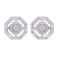 Art Deco Diamond Earrings 18K White Gold TPUGI-325