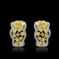 4.67 Carat Scalloped Yellow Diamond Earrings SEE10683Y