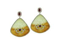 18K Gold, Jade, Ruby & 2.36 ct Diamond Earring