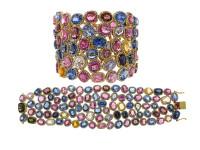 18K Gold Multi Color Sapphire & 12.63 ct Diamond Bracelet
