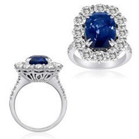 7.72 Ct Sapphire & Diamond Ring (rd 2.62ct, Sp 5.10ct)