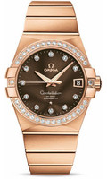 Omega Constellation 18K RG Brown Dial Diamond Watch 123.55.38.21.63.001