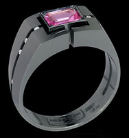 Mousson Atelier Mens Jewellery Collection Pink Sapphire & Diamond Ring R0071-0/2
