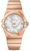 Omega Constellation 18K RG Silver Dial Diamond Watch 123.55.38.21.52.007